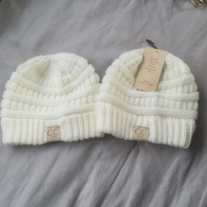 Set of 2 CC Knit Hats - Cream - Kid's Size